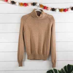 Pria • Tan Camel Cotton Knit Turtleneck Sweater